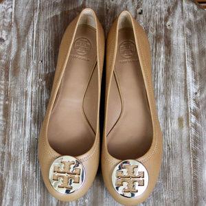 NWT Tory Burch Royal Tan/Gold Leather Flats
